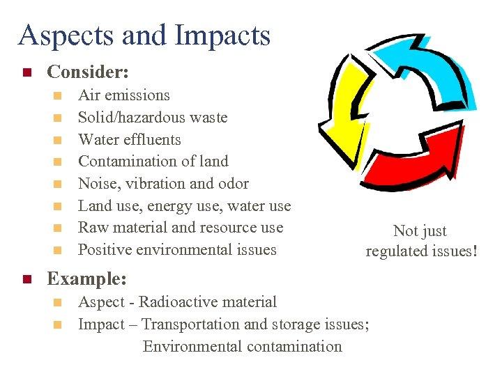 Aspects and Impacts n Consider: n n n n n Air emissions Solid/hazardous waste