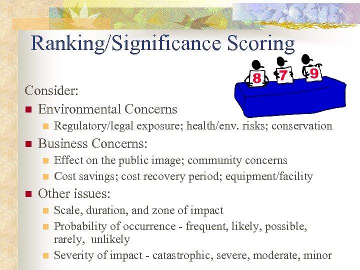Ranking/Significance Scoring Consider: n Environmental Concerns n n Business Concerns: n n n Regulatory/legal