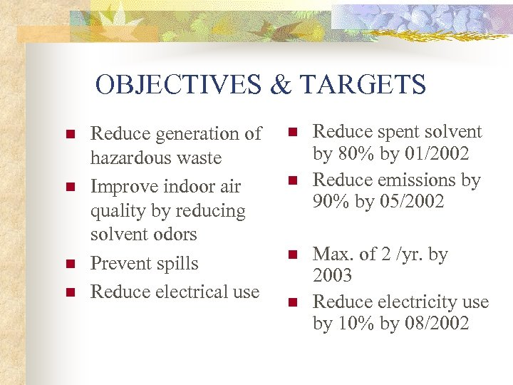 OBJECTIVES & TARGETS n n Reduce generation of hazardous waste Improve indoor air quality
