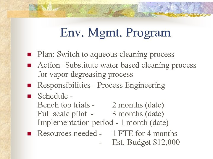 Env. Mgmt. Program n n n Plan: Switch to aqueous cleaning process Action- Substitute