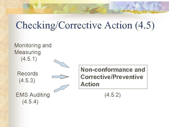 Checking/Corrective Action (4. 5) Monitoring and Measuring (4. 5. 1) Records (4. 5. 3)