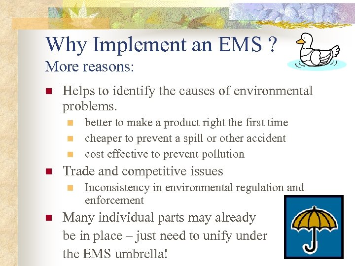 Why Implement an EMS ? More reasons: n Helps to identify the causes of