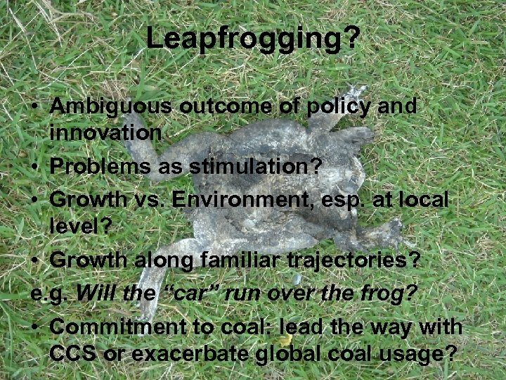 Leapfrogging? • Ambiguous outcome of policy and innovation • Problems as stimulation? • Growth