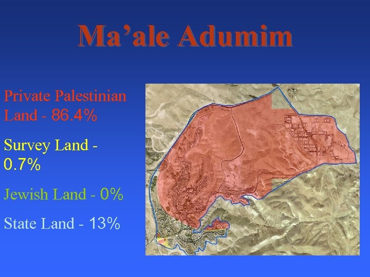 Ma'ale Adumim Private Palestinian Land - 86. 4% Survey Land 0. 7% Jewish Land