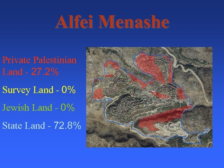 Alfei Menashe Private Palestinian Land - 27. 2% Survey Land - 0% Jewish Land