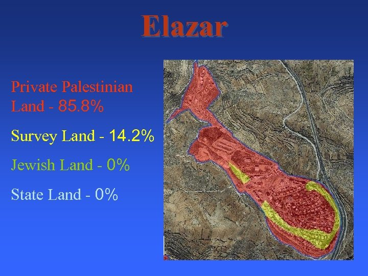 Elazar Private Palestinian Land - 85. 8% Survey Land - 14. 2% Jewish Land