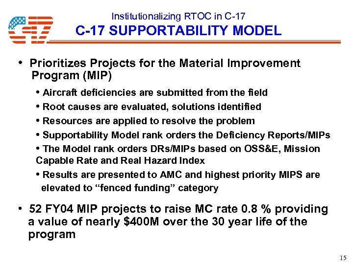 Institutionalizing RTOC in C-17 SUPPORTABILITY MODEL • Prioritizes Projects for the Material Improvement Program