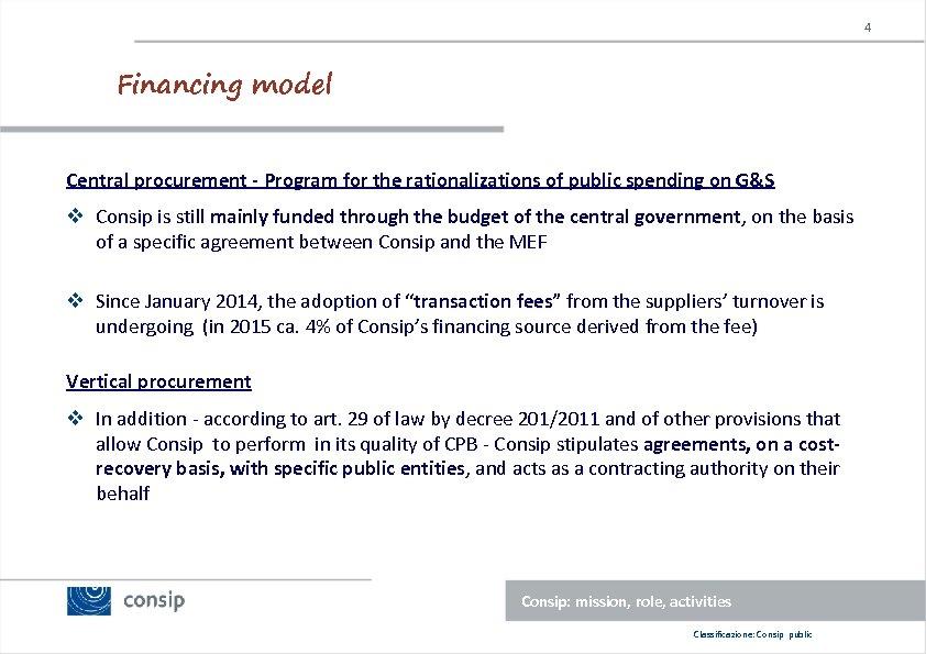 4 Financing model Central procurement - Program for the rationalizations of public spending on