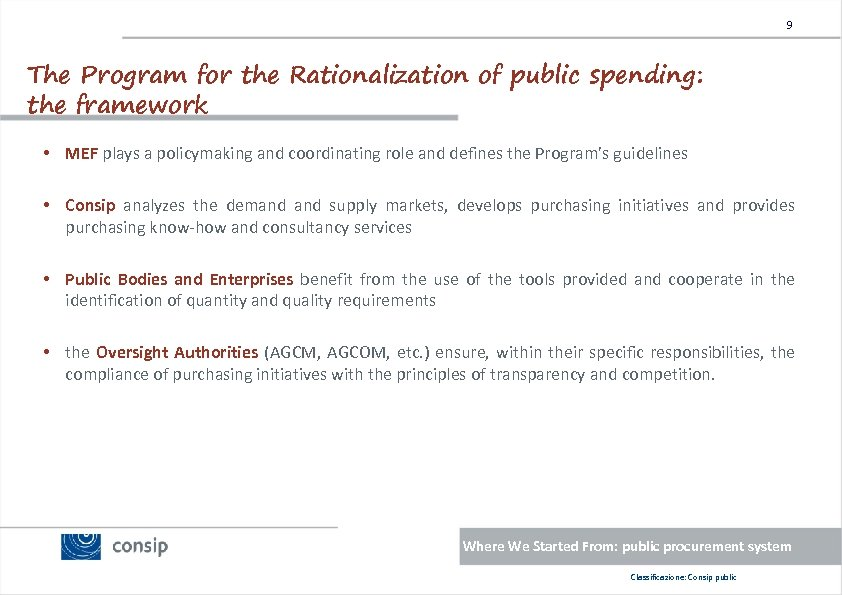 9 The Program for the Rationalization of public spending: the framework • MEF plays