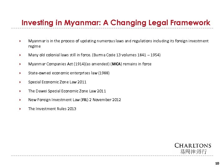 Investing in Myanmar: A Changing Legal Framework Myanmar is in the process of updating