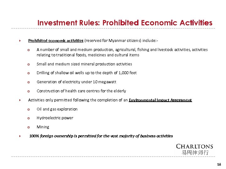 Investment Rules: Prohibited Economic Activities Prohibited economic activities (reserved for Myanmar citizens) include: ○