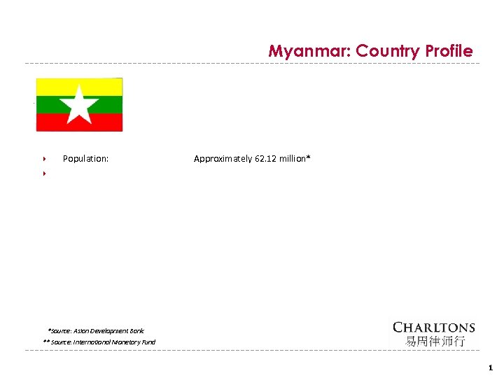 Myanmar: Country Profile Population: Approximately 62. 12 million* *Source: Asian Development Bank ** Source: