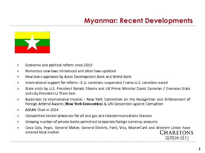 Myanmar: Recent Developments Economic and political reform since 2010 Numerous new laws introduced and