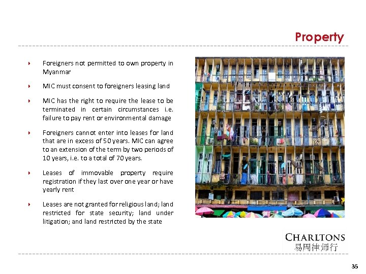 Property Foreigners not permitted to own property in Myanmar MIC must consent to foreigners