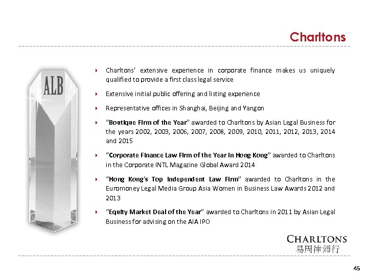 Charltons Charltons' extensive experience in corporate finance makes us uniquely qualified to provide a