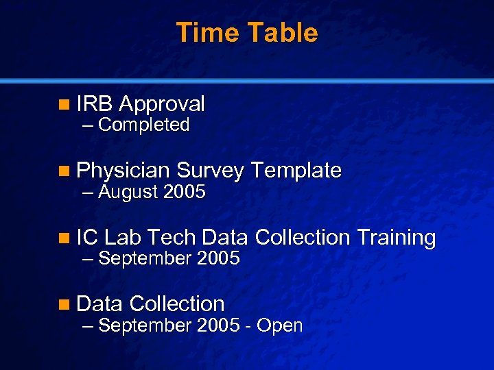 Slide 27 © 2003 By Default! Time Table n IRB Approval – Completed n