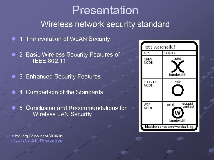 Presentation Wireless network security standard l 1 The evolution of WLAN Security l 2