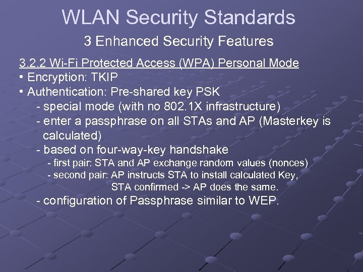 WLAN Security Standards 3 Enhanced Security Features 3. 2. 2 Wi-Fi Protected Access (WPA)
