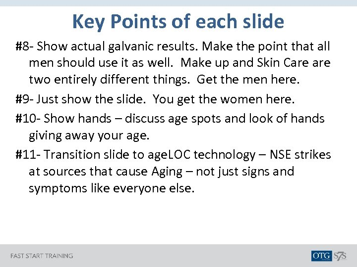 Key Points of each slide #8 - Show actual galvanic results. Make the point