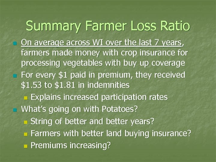 Summary Farmer Loss Ratio n n n On average across WI over the last