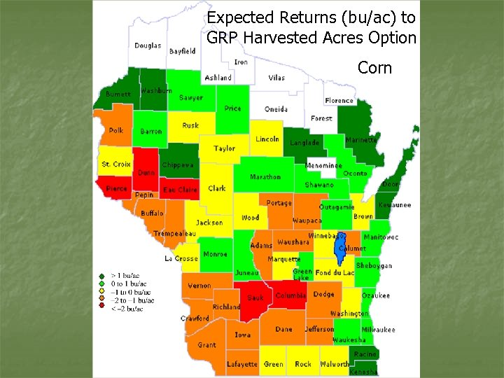 Expected Returns (bu/ac) to GRP Harvested Acres Option Corn