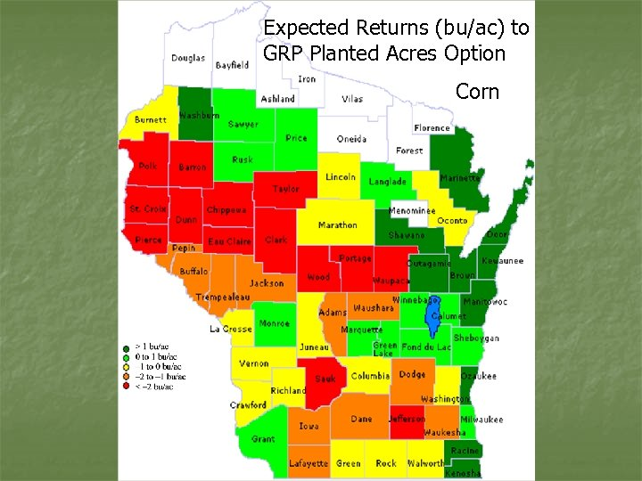 Expected Returns (bu/ac) to GRP Planted Acres Option Corn