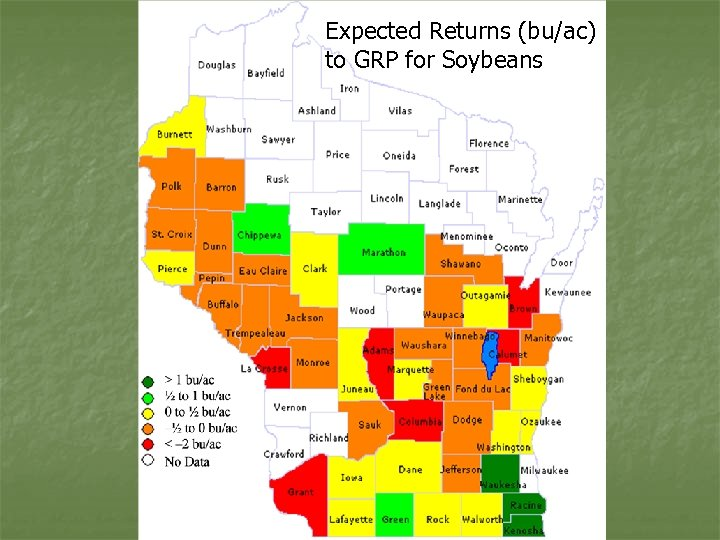 Expected Returns (bu/ac) to GRP for Soybeans