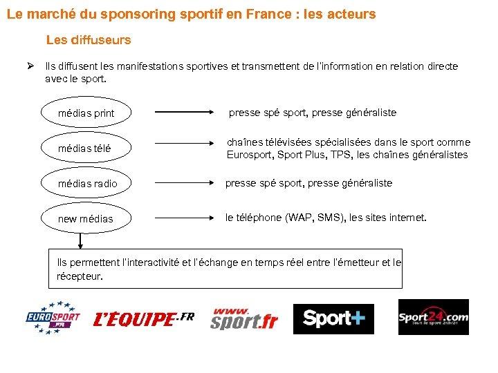 Le marché du sponsoring sportif en France : les acteurs Les diffuseurs Ø Ils