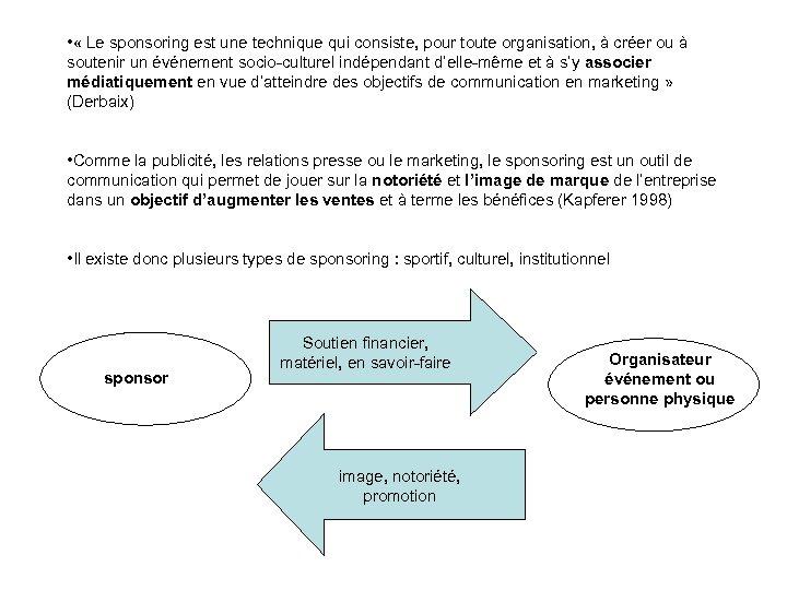 • « Le sponsoring est une technique qui consiste, pour toute organisation, à