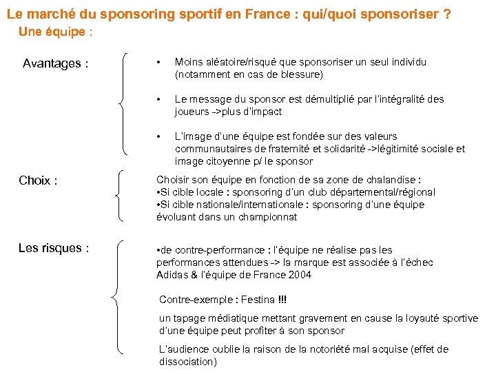 Le marché du sponsoring sportif en France : qui/quoi sponsoriser ? Une équipe :