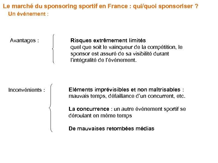 Le marché du sponsoring sportif en France : qui/quoi sponsoriser ? Un événement :