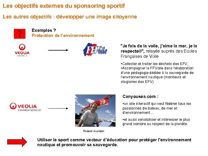 Les objectifs externes du sponsoring sportif Les autres objectifs : développer une image citoyenne