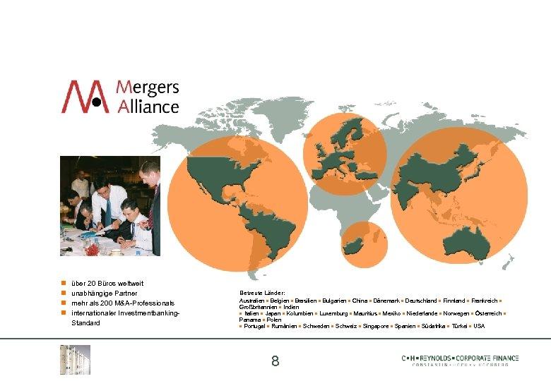 über 20 Büros weltweit unabhängige Partner mehr als 200 M&A-Professionals internationaler Investmentbanking. Standard