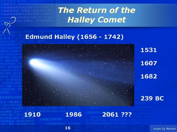 The Return of the Halley Comet Edmund Halley (1656 - 1742) 1531 1607 1682