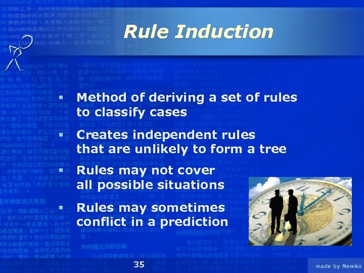 Rule Induction § Method of deriving a set of rules to classify cases §