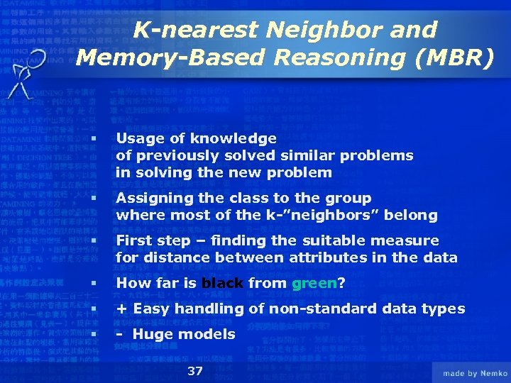K-nearest Neighbor and Memory-Based Reasoning (MBR) § Usage of knowledge of previously solved similar