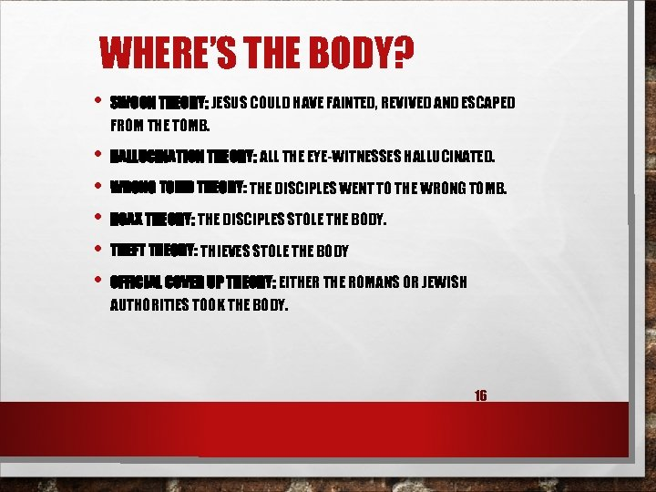 WHERE'S THE BODY? • SWOON THEORY: JESUS COULD HAVE FAINTED, REVIVED AND ESCAPED FROM