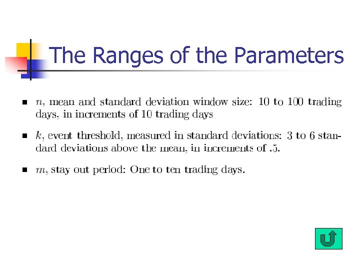 The Ranges of the Parameters