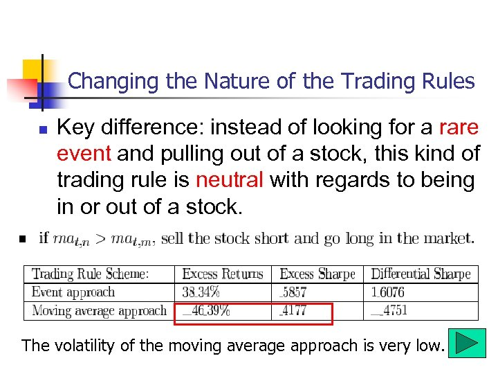 Changing the Nature of the Trading Rules n Key difference: instead of looking for