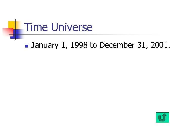 Time Universe n January 1, 1998 to December 31, 2001.