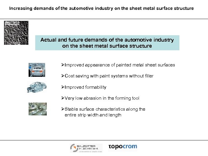 Increasing demands of the automotive industry on the sheet metal surface structure Actual and
