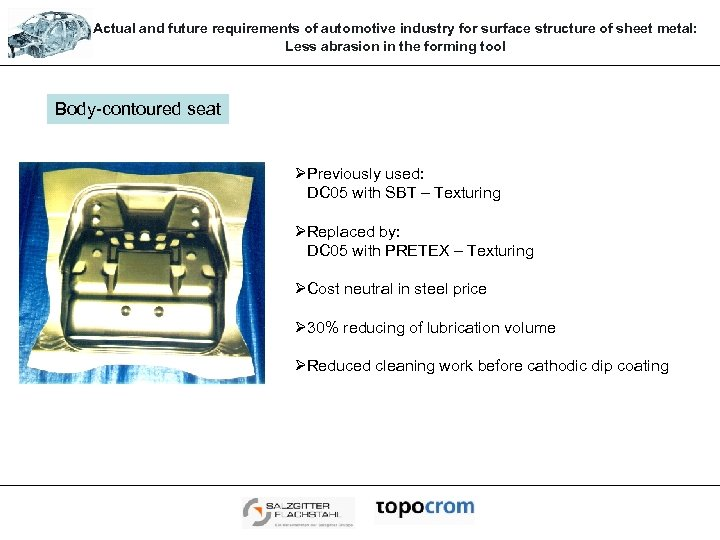 Actual and future requirements of automotive industry for surface structure of sheet metal: Less