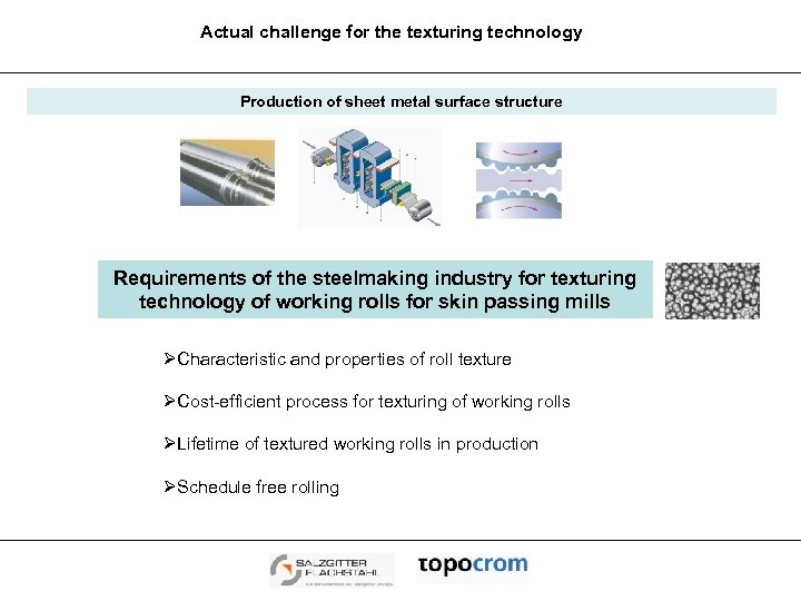 Actual challenge for the texturing technology Production of sheet metal surface structure Requirements of