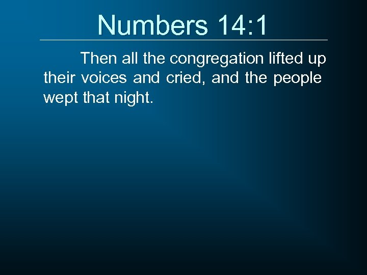 Numbers 14: 1 Then all the congregation lifted up their voices and cried, and