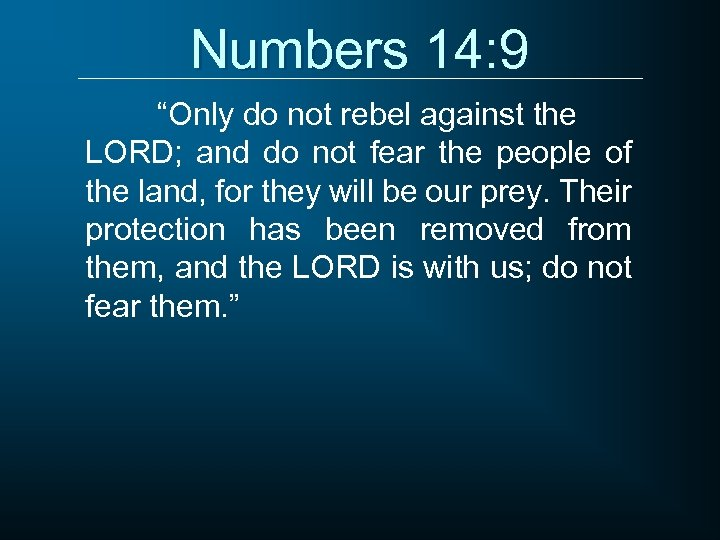 """Numbers 14: 9 """"Only do not rebel against the LORD; and do not fear"""