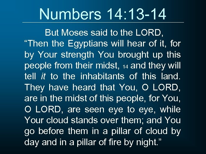 """Numbers 14: 13 -14 But Moses said to the LORD, """"Then the Egyptians will"""