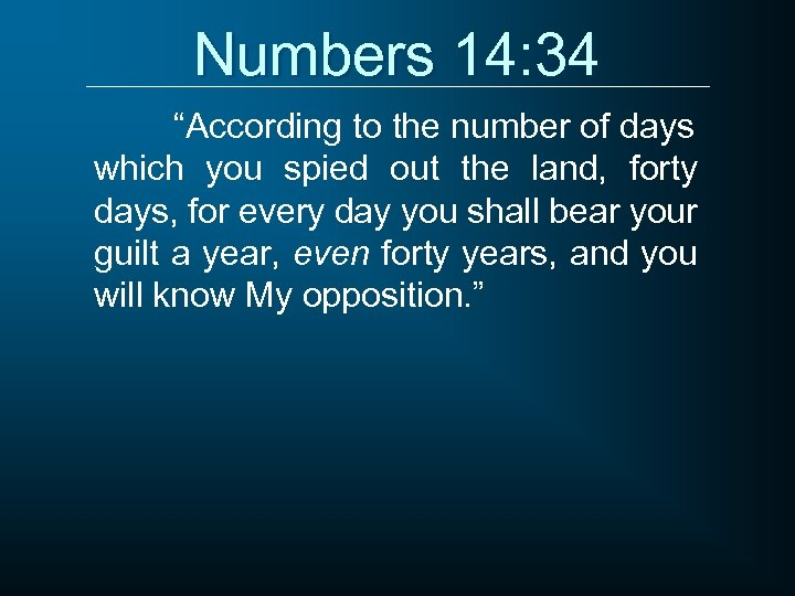 """Numbers 14: 34 """"According to the number of days which you spied out the"""