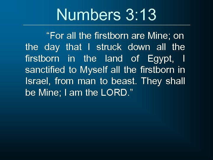"""Numbers 3: 13 """"For all the firstborn are Mine; on the day that I"""