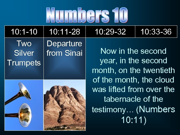 10: 1 -10 Two Silver Trumpets 10: 11 -28 Departure from Sinai 10: 29