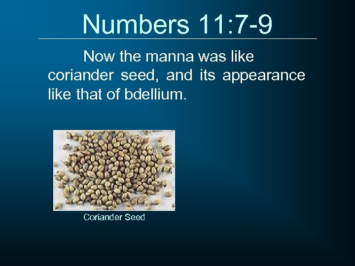 Numbers 11: 7 -9 Now the manna was like coriander seed, and its appearance